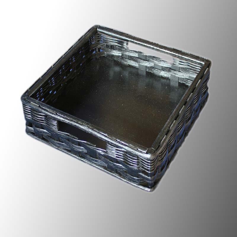 Palettenmöbel-Box Rattan schwarz